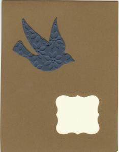 Bird movers and shaper - reversed texture die cut on plain Curly Label die cut card