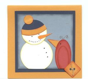 Snowman redbird paired card 001