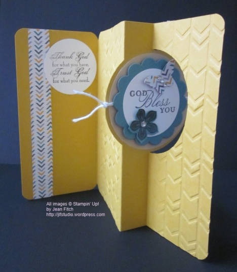 CASE the Catalog - CASE of Stampin' Up's 2014 Annual Catalog page 138 - Jean Fitch - Circle Card Thinlit die, Trust God, Petite Petal and the Arrow embossing folder and Moonlight DSP.   More pictures and details in post.