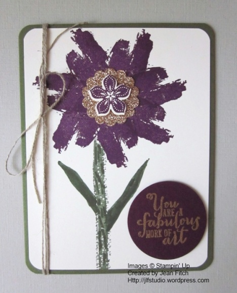 Work of Art Blackberry Bliss Flower-Jean Fitch August 2014 Stamp Camp.