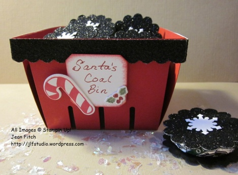 Santa's Coal Bin - Candy Coals in a Berry Basket - Jean Fitch - Wacky Watercooler November Blog Hop