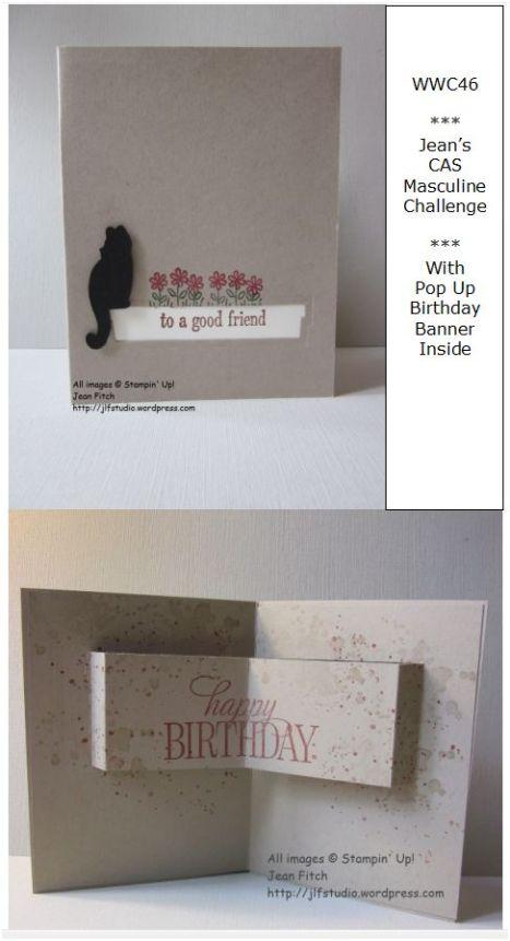 Watercooler Wednesday Challenge - WWC46 - Jean's CAS Masculine Challenge - Pop Out Banner Birthday Card
