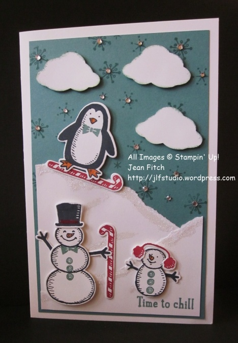 Watercooler Wednesday Challenge - WWC48 - Time to Chill - Jean Fitch  - Snow Play stamps and dies.  Free downloadable directions in the post.