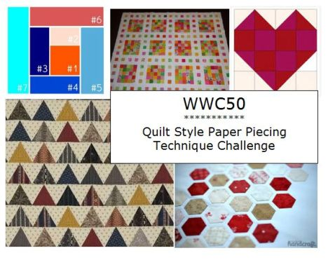 Watercooler Wednesday Challenge WWC50 - quilt style paper piecing technique challenge