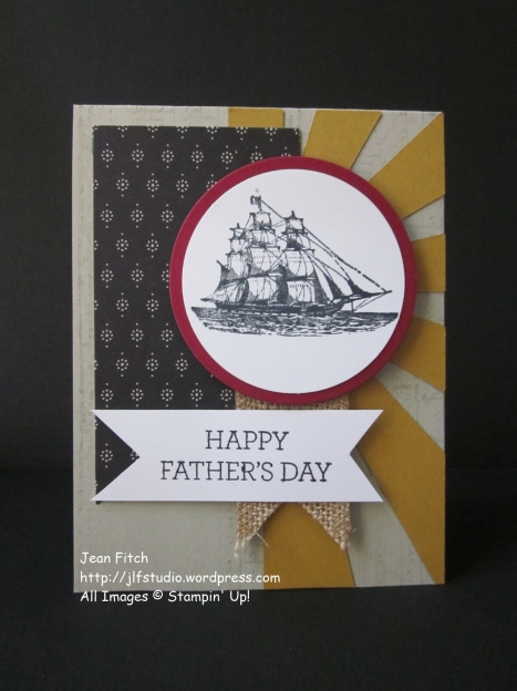 Watercooler Wednesday Challenge - WWC71 - Heidi's Tic Tac Toe Challenge - Nautical Father's Day - Jean Fitch - Open Sea (retired) meets the Sunburst die cut.