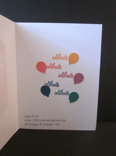 Watercooler Wednesday Challenge - WWC72 - Jean's In Color Color Challenge - Bitty Balloon Punch inside of card - Thoughtful Banners Stamp Set