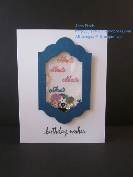 Watercooler Wednesday Challenge - WWC72 - Jean's In Color Color Challenge - Jean Fitch - Bitty Balloon Punch Shaker Card - Thoughtful Banners Stamp Set