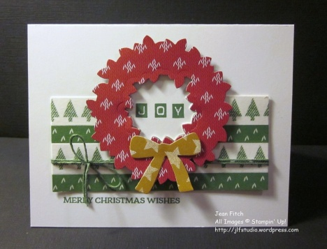 Watercooler Wednesday Challenge - WWC97 - Penny's Sketch Challenge - Washi Tape & Wreath Card, an original creation by Jean Fitch. Warmth & Cheer Washi Tape and Designer Series Paper Stack. See the post for additional supply list and directions.